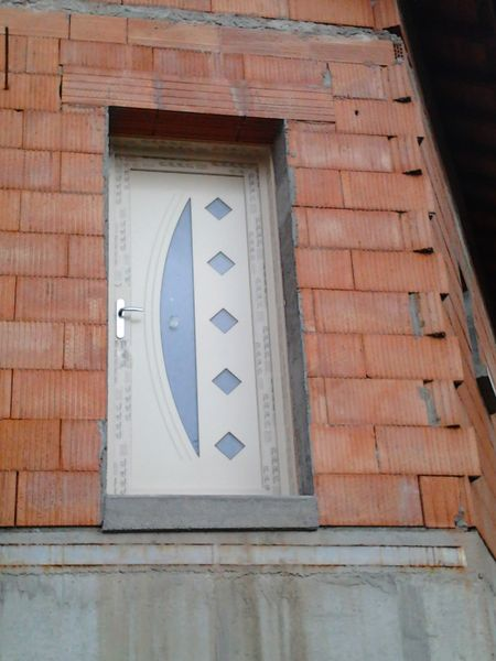 Porte d'Entrée PVC beige Construction neuve